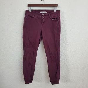 Torrid Twill Skinny Trouser Pants Wine Red Wash 14